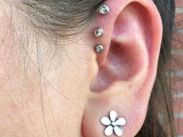 about triple forward helix piercing