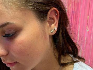double cartilage piercing ear